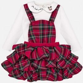 Komplet bluzka bawełniana i spódnica ogrodniczka dla dziewczynki Mayoral 2623-16 Szkarłat