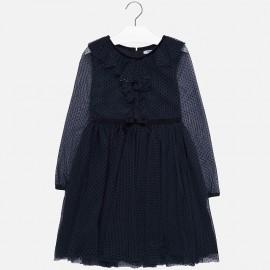 Sukienka bawełna z tiulem dziewczęca Mayoral 7924-55 Granatowy