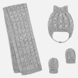 sada klobouk a šátek pro dívku Mayoral 10644-54 stříbro