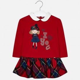 Šaty bavlněné kostkované sukně pro dívku Mayoral 4939-41 Červená