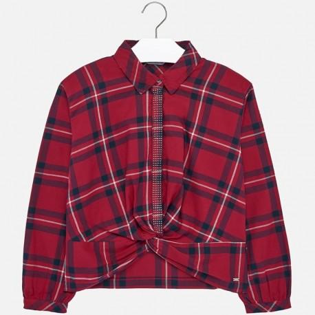 Bluzka koszulowa w kratę dziewczęca Mayoral 7106-54
