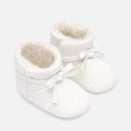 Boty pletený dítě suchý zip pro dívky Mayoral 9218-32 Krém