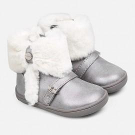 Mayoral 42028-57 zimní boty s kožešinou pro dívky stříbro