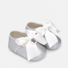 Lesklé balerínky na opasku pro dívku Mayoral 9214-95 stříbro