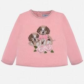 Vyšívaný svetr pro dívku Mayoral 2312-65 růžový