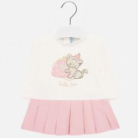 Šaty s dlouhým rukávem pro dívku Mayoral 2912-29 růžový