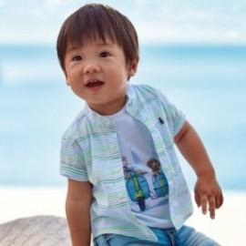 Pruhované tričko na stojatém límci pro chlapce Mayoral 1161-81 apple