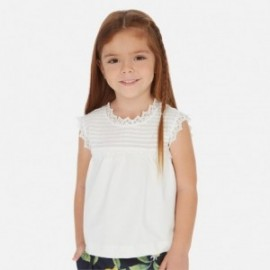 Tričko s výšivkou pro dívku Mayoral 3003-94 bílá