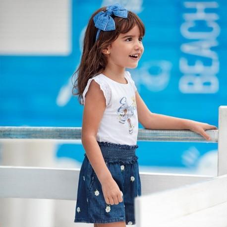Šortky džíny vyšívací dívka Mayoral 3280-5 tmavě modrá