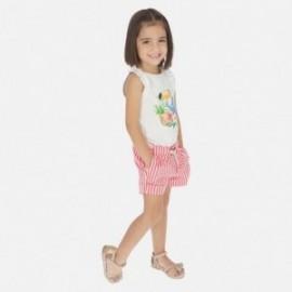 Dívčí pruhované krátké kalhoty Mayoral 3283-24 červené