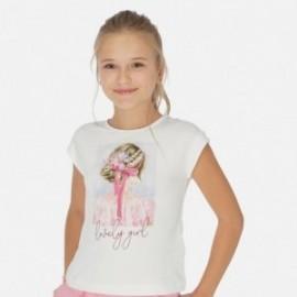 Tričko s krátkým rukávem pro dívky Mayoral 6002-77 Bílo-růžová