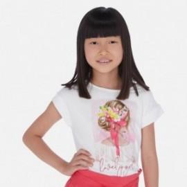 Tričko s krátkým rukávem pro dívky Mayoral 6002-79 Bílo-červené
