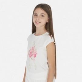 Tričko s krátkým rukávem pro dívky Mayoral 6007-18 smetanový