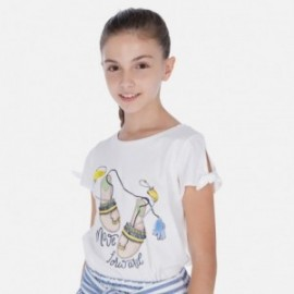 Tričko s krátkým rukávem pro dívky Mayoral 6018-27 bílá