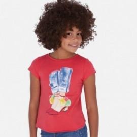 Tričko s asymetrickým spodkem pro dívky Mayoral 6021-83 červená