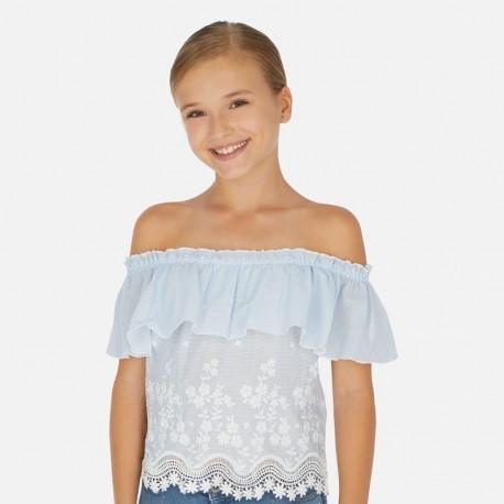 Halenka s holými rameny holčičí Mayoral 6165-42 modrý