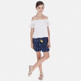 Krátké kalhoty s výšivkou dívčí Mayoral 6257-5 granát
