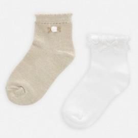 Sada 2 párů dívčích ponožek Mayoral 10787-37 béžový