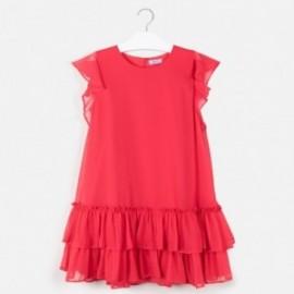 Šaty s volánkem pro dívku Mayoral 6961-17 červená