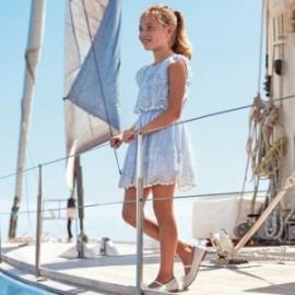 Šaty s výšivkou pro dívku Mayoral 6977-42 modrý