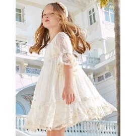 Společenské šaty pro dívku Abel & Lula 5019-3 krém