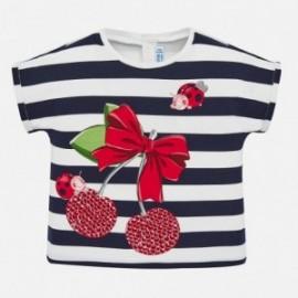 Tričko s pruhy pro dívku Mayoral 1067-41 granát