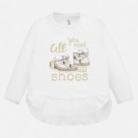 Bavlněné tričko Mayoral pro dívky 1069-18 béžové