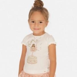 Bavlněné tričko pro dívku Mayoral 3001-66 krém