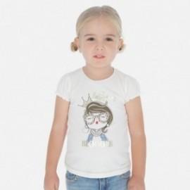 Bavlněné tričko pro dívku Mayoral 3008-46 krém