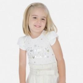 Bavlněné tričko pro dívky Mayoral 3009-36 krém