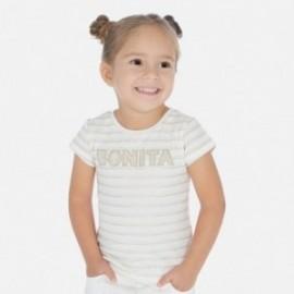 Mayoral 3011-84 pruhované bavlněné tričko pro dívky béžový
