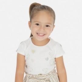 Tričko s krátkým rukávem pro dívky Mayoral 3012-63 krém