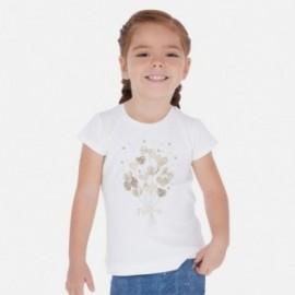 Bavlněné tričko pro dívky Mayoral 3017-34 krém