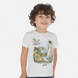 Bavlněné tričko s potiskem pro chlapce Mayoral 3050-94 bílá