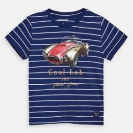 Bavlněné pruhované tričko pro chlapce Mayoral 3064-65 granát