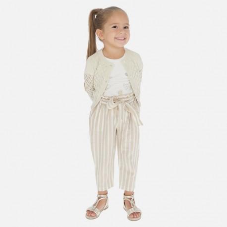 Pruhované kalhoty pro dívky Mayoral 3540-24 béžový