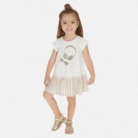 Bavlněné šaty pro dívky Mayoral 3948-28 béžový