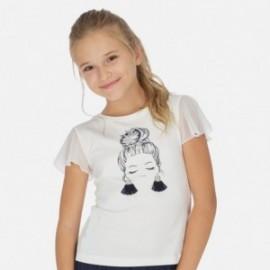 Tričko s krátkým rukávem pro dívky Mayoral 6004-47 smetanový