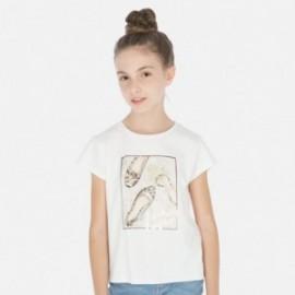 Tričko s krátkým rukávem pro dívky Mayoral 6011-32 smetanový