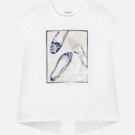 Tričko s krátkým rukávem pro dívky Mayoral 6011-34 bílá-granát