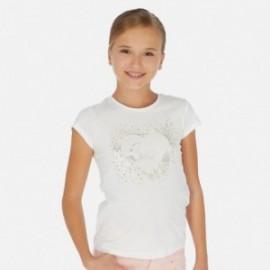 Tričko s krátkým rukávem pro dívky Mayoral 6017-65 smetanový