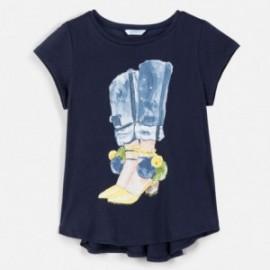 Tričko s asymetrickým spodkem pro dívky Mayoral 6021-85 granát