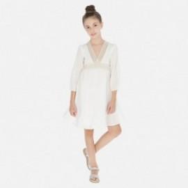 Šaty s dlouhým rukávem pro dívku Mayoral 6971-3 smetanový