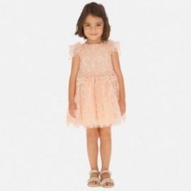 Tylové šaty s květinami pro dívky Mayoral 3916-82 broskev