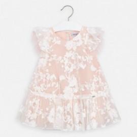 Tylové šaty pro dívku Mayoral 3921-16 broskev