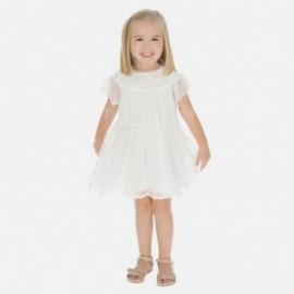 Tylové šaty s výšivkou pro dívky Mayoral 3943-15 krém