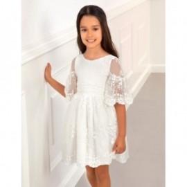 Tylové šaty s výšivkou květiny dívka Abel & Lula 5017-1 bílá