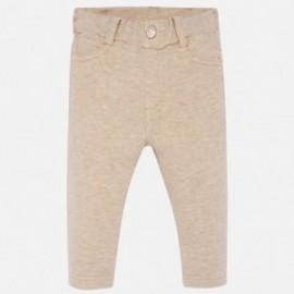 Bavlněné kalhoty pro dívky Mayoral 560-40 hnědý