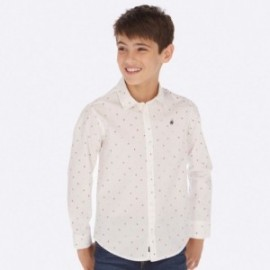 Košile s dlouhými rukávy ve vzoru chlapec Mayoral 7117-84 bílá