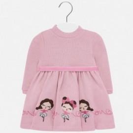 Pletené šaty s výšivkou pro dívky Mayoral 2928-33 růžový